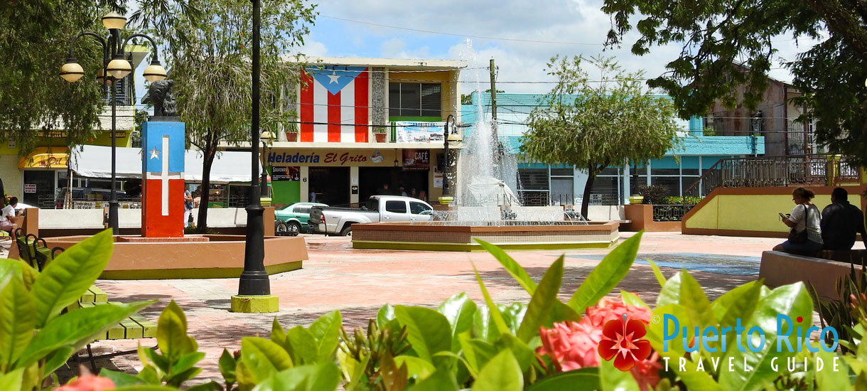 Flags around the Plaza in Lares, Puerto Rico