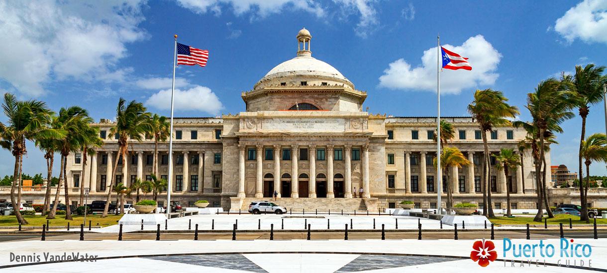 USA & Puerto Rico Flags at Capital Building in San Juan, Puerto Rico