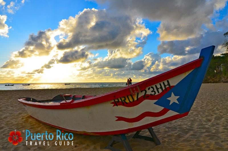 Flag on fisherman boat - Crashboat Beach - Aguadilla, Puerto Rico