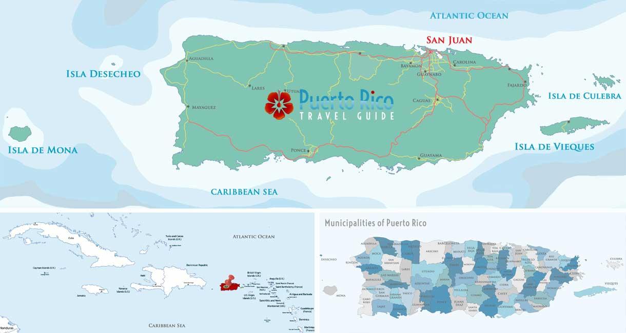 Puerto Rico Map - Island, Caribbean & Municipalities