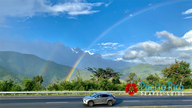 Rainbow over the Cayey Highway Mountains - Puerto Rico